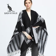 SAN VITALE Large Cashmere Blend Shawl - Black + Grey - Shawl