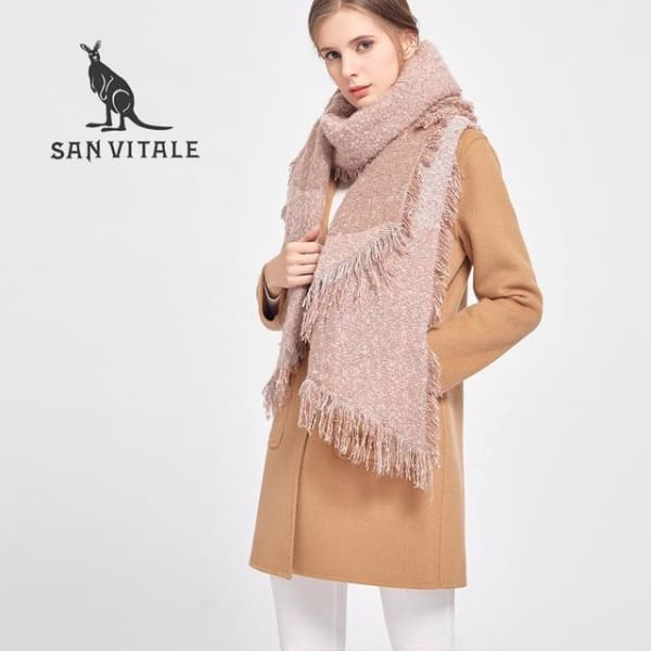 SAN VITALE Large Scarf Wrap with Fringe - Blush Pink - Scarf