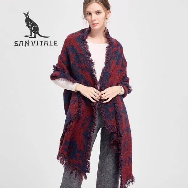 SAN VITALE Large Scarf Wrap with Fringe - Red Plaid - Scarf