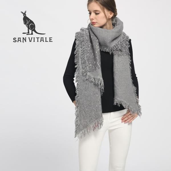 SAN VITALE Cashmere Blend Large Scarf - Gray - Scarf