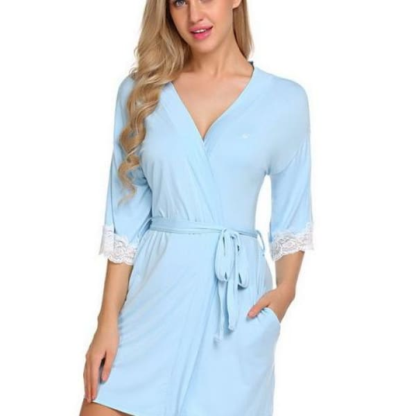Short Robe with Lace - Sky Blue / L - Robe