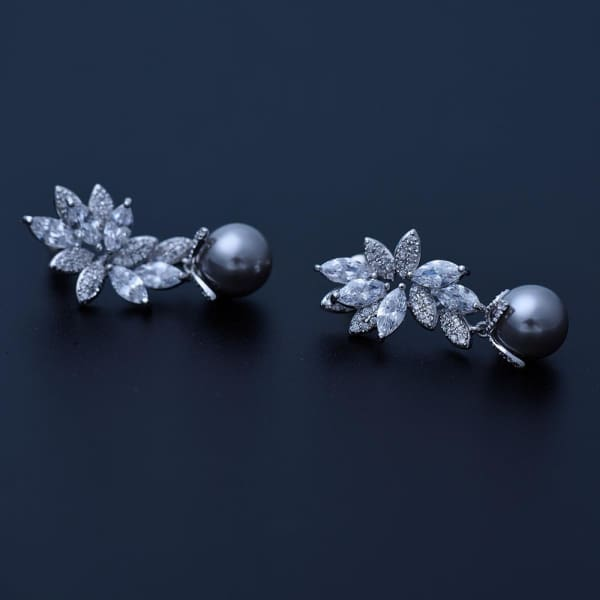 Gray Faux Pearl and Crystal Drop Earrings - Drop Earrings