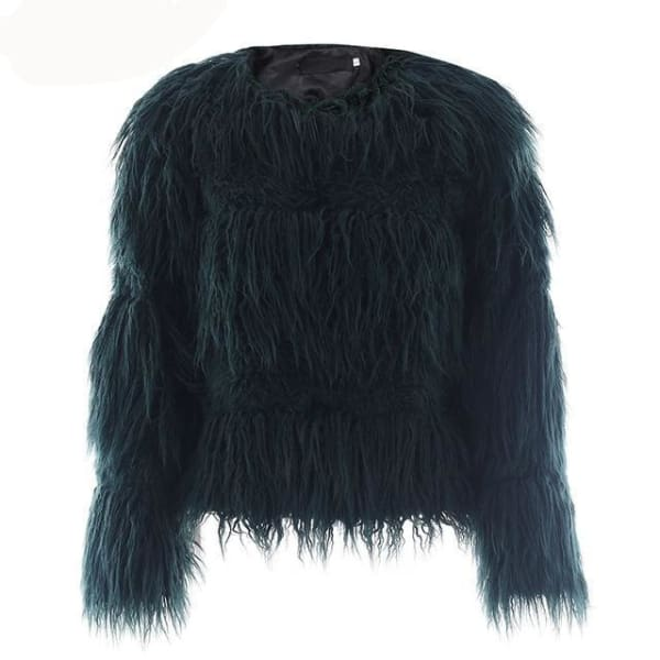 Elegant Faux Fur Coat - Green / S - Coat