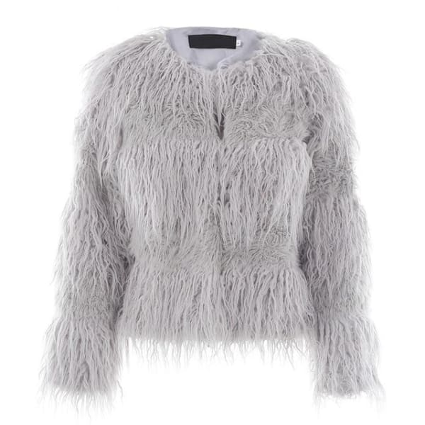 Elegant Faux Fur Coat - Gray / S - Coat