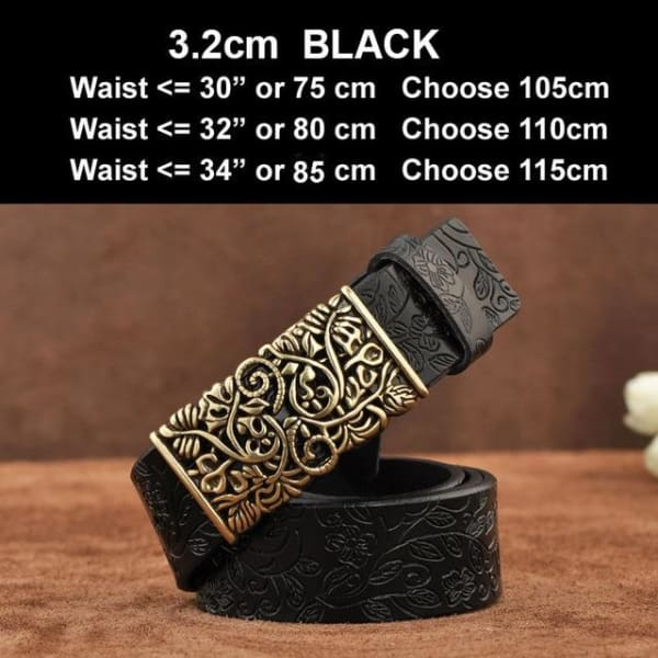 Womens Genuine Leather Vintage Belt - N17071BlackB / 100cm - Belt