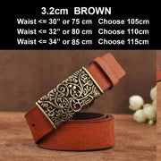 Womens Genuine Leather Vintage Belt - N17071BrownB / 100cm - Belt