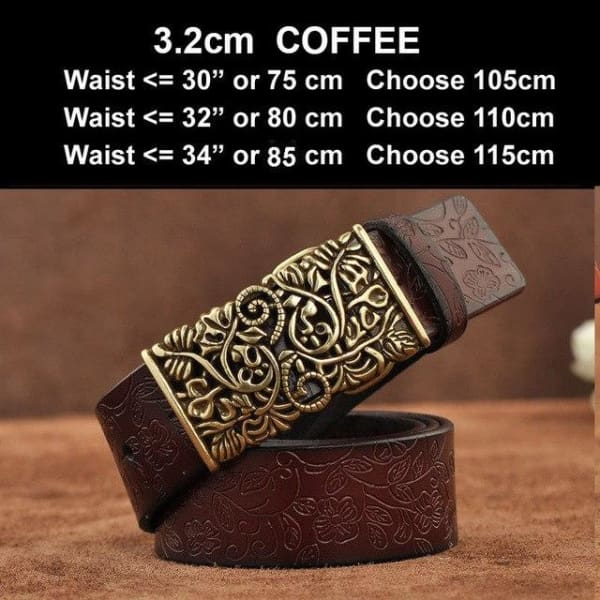Womens Genuine Leather Vintage Belt - N17071CoffeeB / 100cm - Belt
