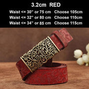 Womens Genuine Leather Vintage Belt - N17071RedB / 100cm - Belt