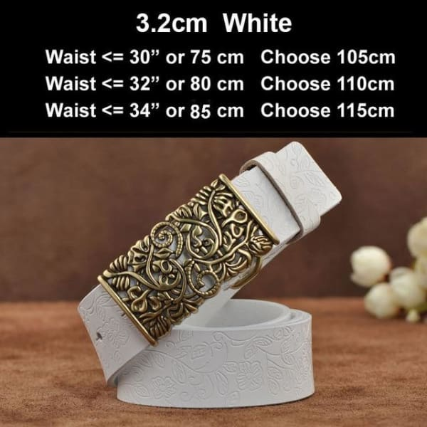 Womens Genuine Leather Vintage Belt - N17071WhiteB / 100cm - Belt