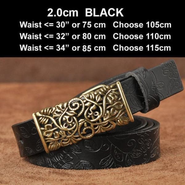 Womens Genuine Leather Vintage Belt - N17071BlackS / 100cm - Belt