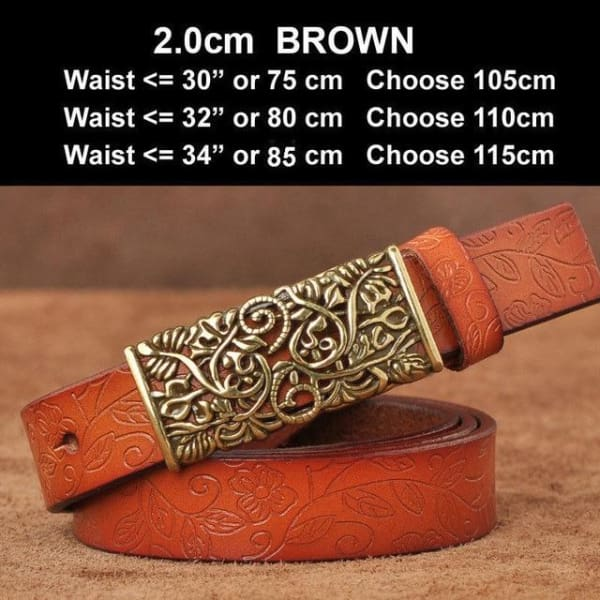 Womens Genuine Leather Vintage Belt - N17071BrownS / 100cm - Belt