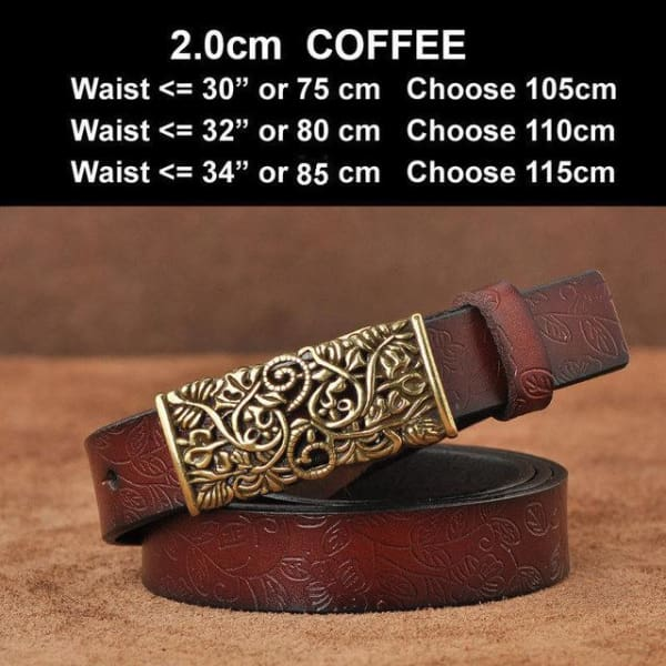 Womens Genuine Leather Vintage Belt - N17071CoffeeS / 100cm - Belt