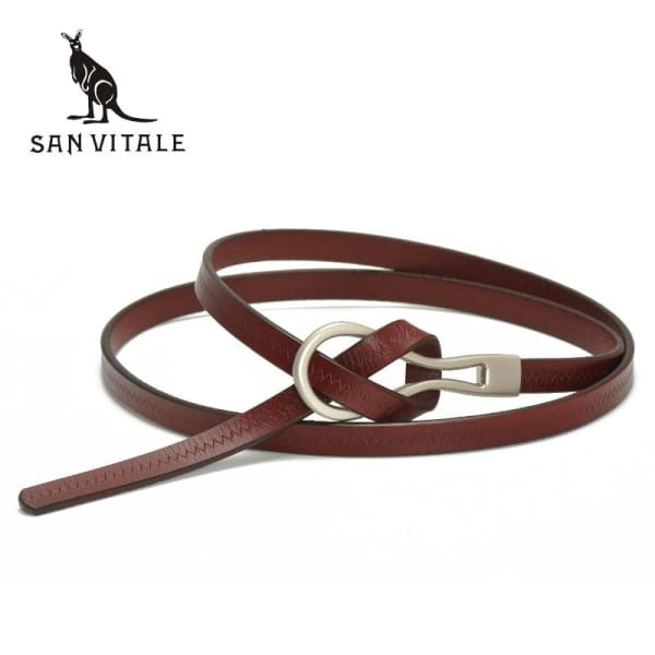 SAN VITALE Narrow Womens Belt with Hook Buckle - Belt
