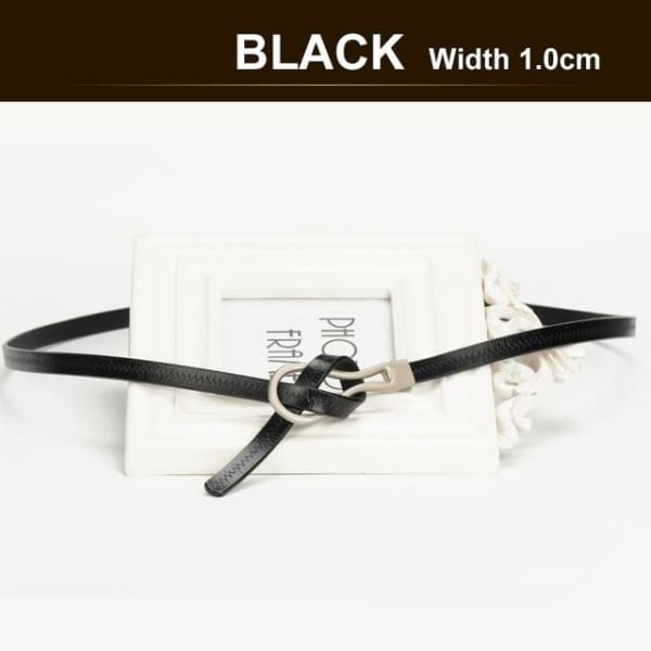 SAN VITALE Narrow Womens Belt with Hook Buckle - BLACK / 41.25 - Belt