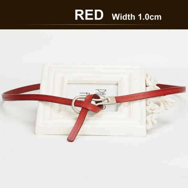 SAN VITALE Narrow Womens Belt with Hook Buckle - RED / 41.25 - Belt