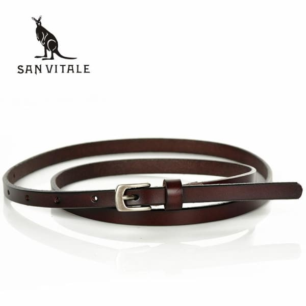 SAN VITALE Skinny Leather Belt with Silver Buckle - Belt