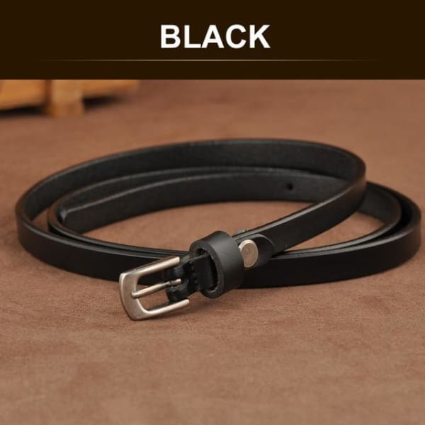 SAN VITALE Skinny Leather Belt with Silver Buckle - BLACK / 41.25 - Belt