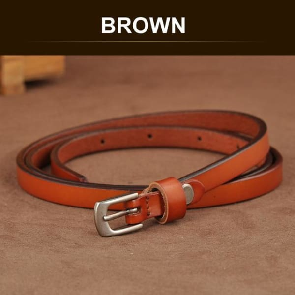 SAN VITALE Skinny Leather Belt with Silver Buckle - BROWN / 41.25 - Belt