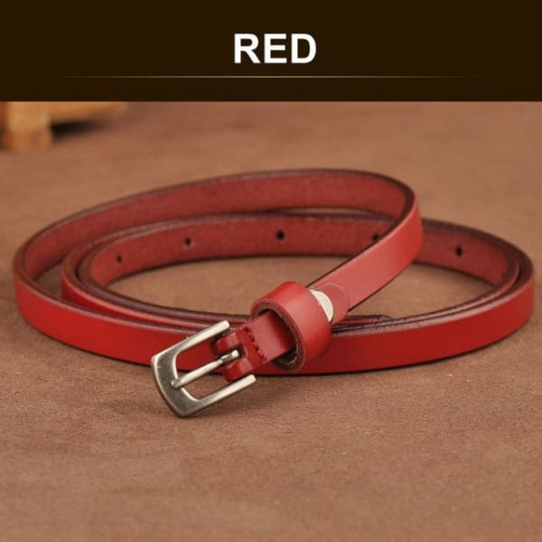 SAN VITALE Skinny Leather Belt with Silver Buckle - RED / 41.25 - Belt