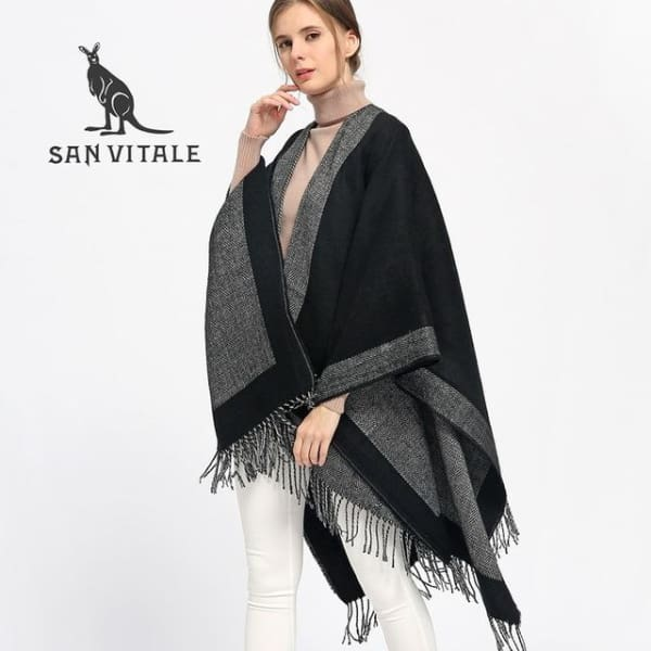 SAN VITALE Large Fringed Shawl - Black + Gray - Shawl