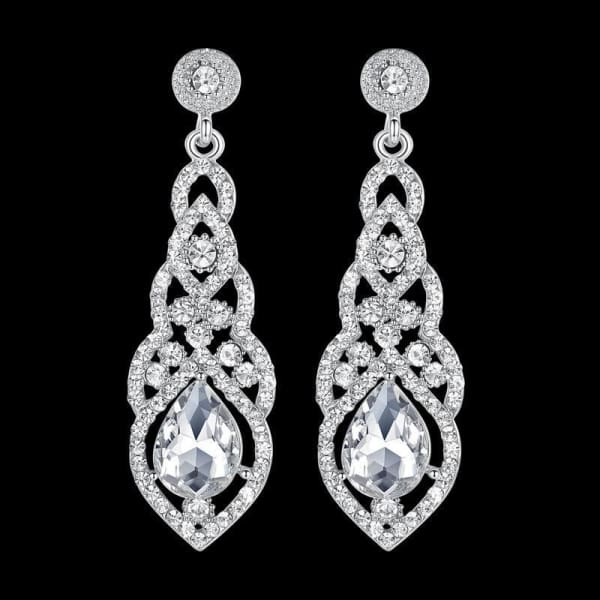 Crystal Teardrop Drop Earrings - Drop Earrings