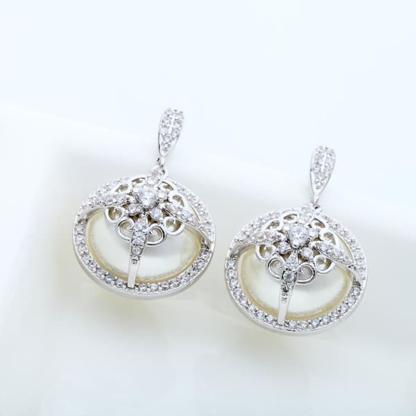 Round Faux Pearl and Crystal Drop Earrings - Drop Earrings