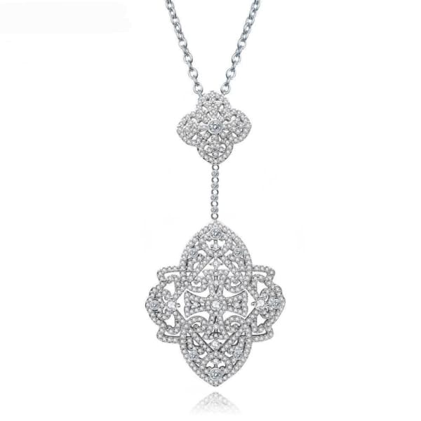 Necklace | Pave Crystal Pendant - Necklace