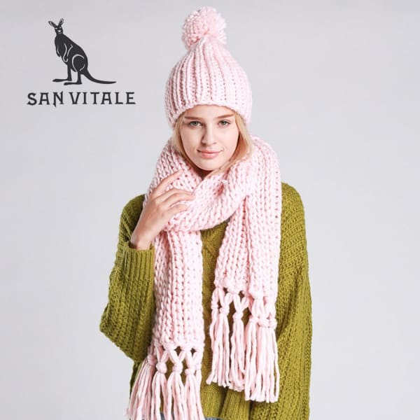 SAN VITALE Knitted Scarf and Hat Set - Pink - Scarf and Hat Set