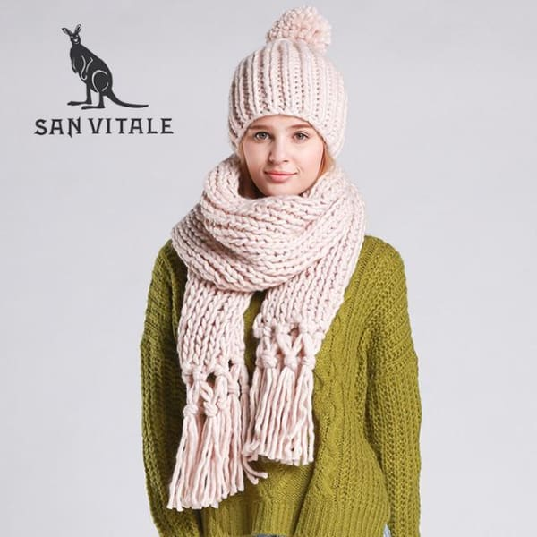 SAN VITALE Knitted Scarf and Hat Set - Beige - Scarf and Hat Set