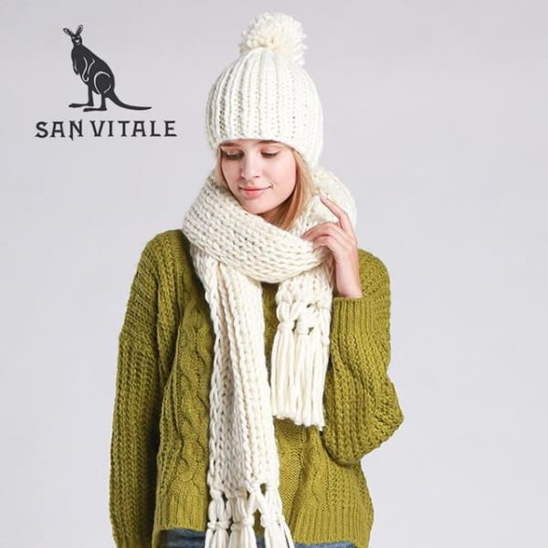 SAN VITALE Knitted Scarf and Hat Set - White - Scarf and Hat Set