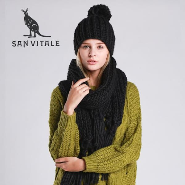 SAN VITALE Knitted Scarf and Hat Set - Black - Scarf and Hat Set