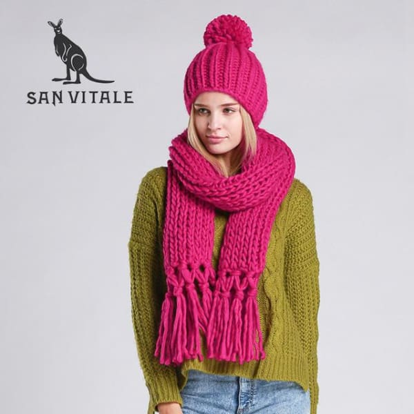 SAN VITALE Knitted Scarf and Hat Set - Rose - Scarf and Hat Set