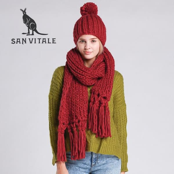 SAN VITALE Knitted Scarf and Hat Set - Burgundy - Scarf and Hat Set
