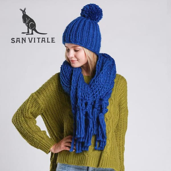 SAN VITALE Knitted Scarf and Hat Set - Blue - Scarf and Hat Set