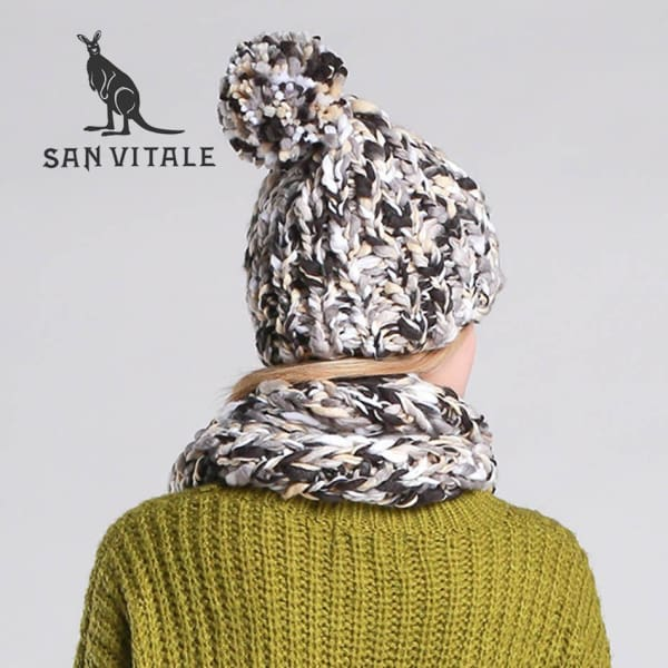 SAN VITALE Chunky Knit Scarf and Hat Set - Scarf and Hat Set