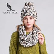 SAN VITALE Chunky Knit Scarf and Hat Set - Black - Scarf and Hat Set