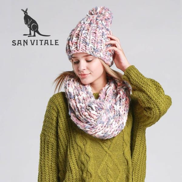 SAN VITALE Chunky Knit Scarf and Hat Set - Pink - Scarf and Hat Set