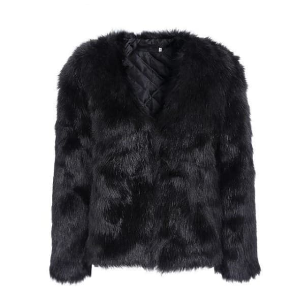 Faux Fur Rabbit Coat - Black / S - Coat
