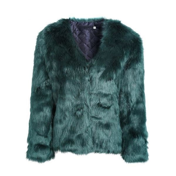 Faux Fur Rabbit Coat - Blackish Green / S - Coat