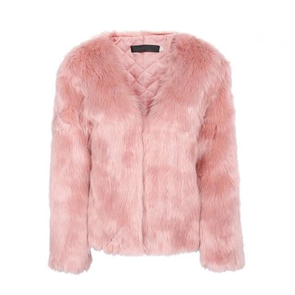 Faux Fur Rabbit Coat - Pink / S - Coat