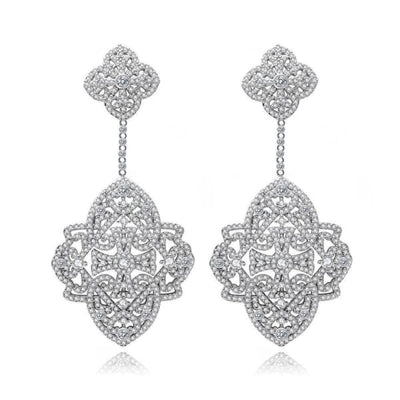 Crystal Quatrefoil Drop Earrings - Drop Earrings