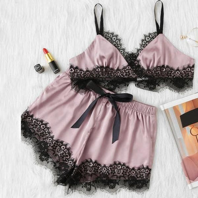 Pink Pajamas Set with Black Scalloped Eyelash Lace - Lingerie Set