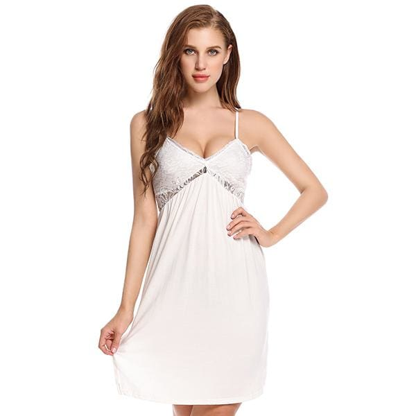 Lace Spaghetti Strap Nightgown - White / L - Night Gown