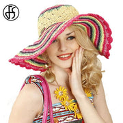 Colorful Wide Brim Beach Hat - Floppy