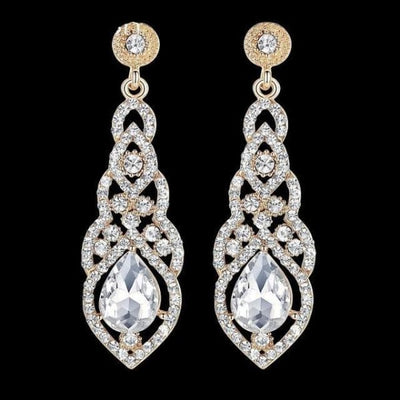 Crystal Teardrop Drop Earrings - Gold + Silver Tone - Drop Earrings