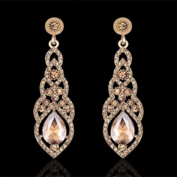 Crystal Teardrop Drop Earrings - Champagne - Drop Earrings