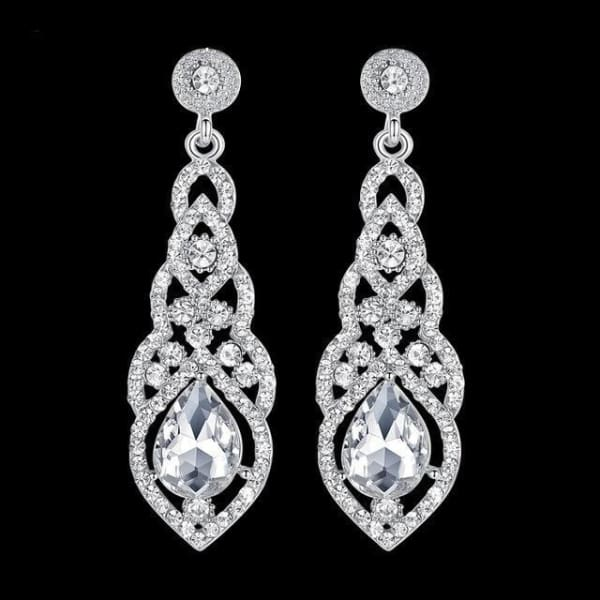 Crystal Teardrop Drop Earrings - Silver Tone - Drop Earrings