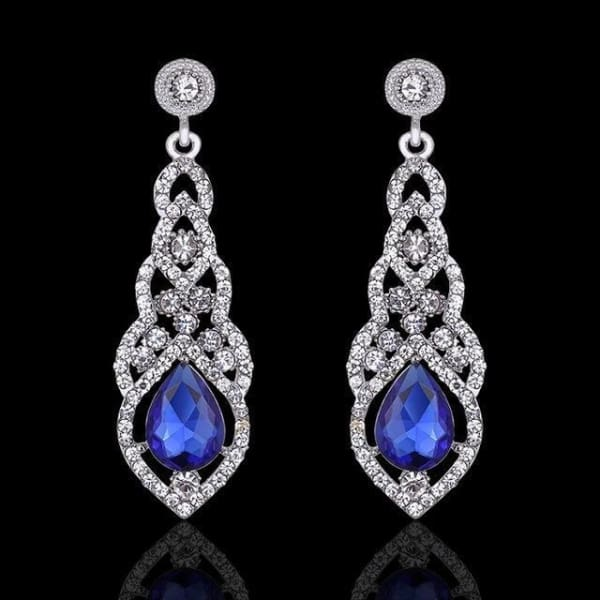 Crystal Teardrop Drop Earrings - Blue - Drop Earrings
