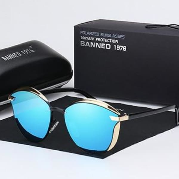 BANNED 1976 Retro Style Pilot Sunglasses - Blue - Sunglasses