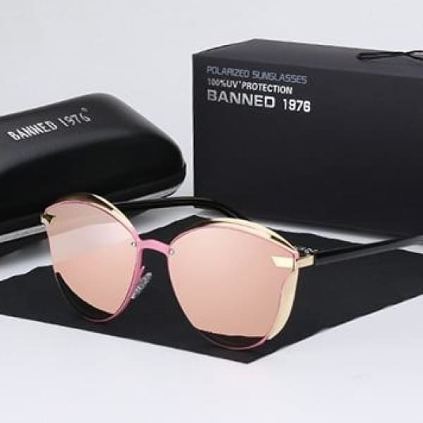 BANNED 1976 Retro Style Pilot Sunglasses - Pink - Sunglasses